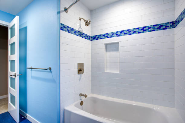 Gorgeous bathroom with blue walls stock photo