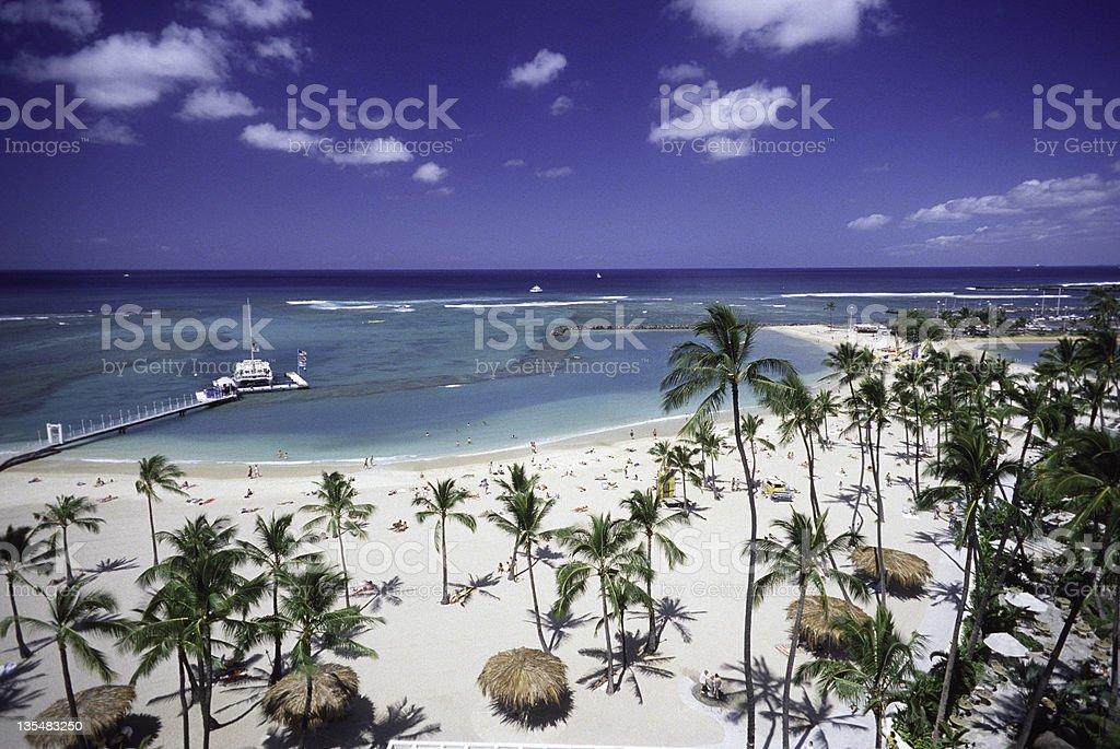 Gorgeous beach and ocean view in Waikiki Beach stock photo