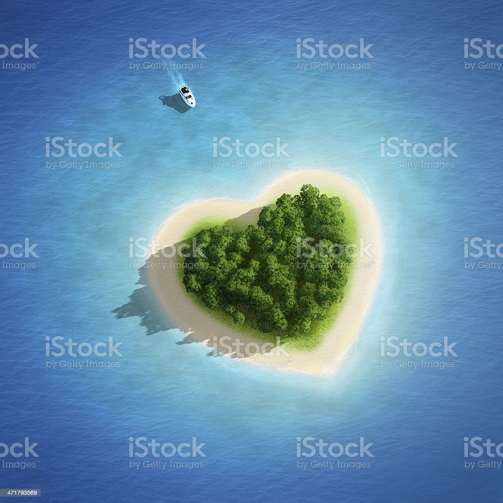 Gorgeous Beach Landscape heart - magnifique plage coeur stock photo