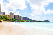 Gorgeous beach view with buildings and diamond head cliff on the island of Oahu, Hawaii.