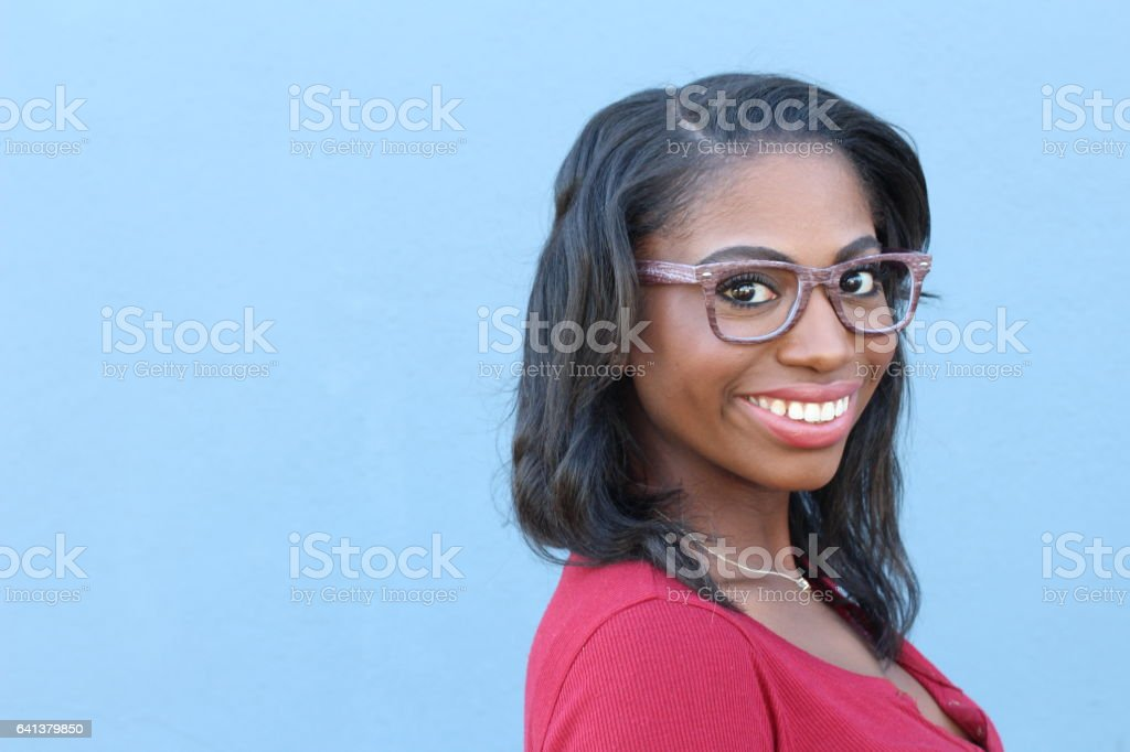 Gorgeous Black Woman wearing Framed Spectacles stock photo