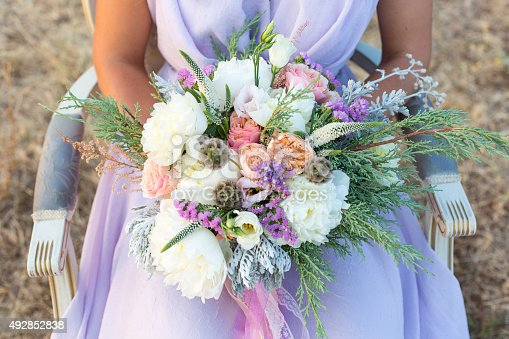 istock gorgeous bridal bouquet with white peonies 492852838