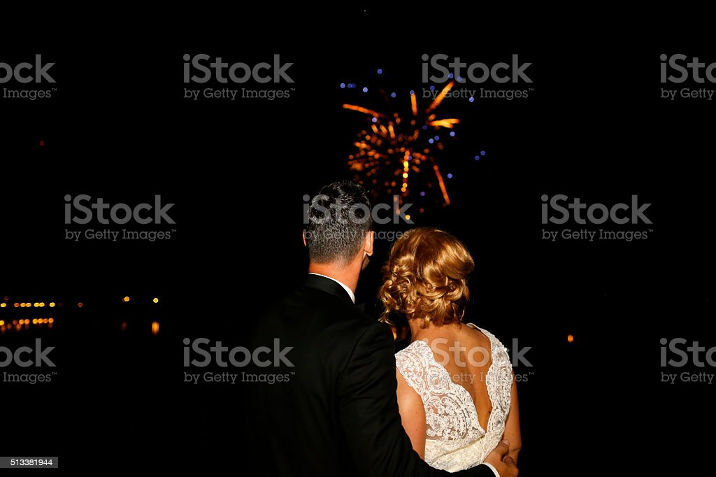 Gorgeous bride and groom stock photo