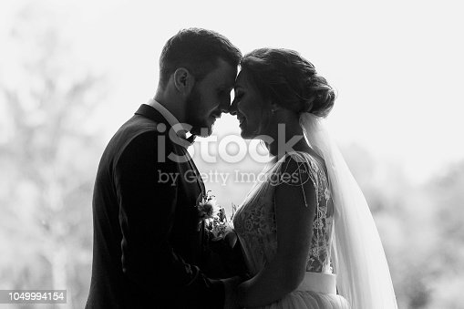 Gorgeous bride and stylish groom silhouettes at window light. Sensual wedding couple embracing. Romantic moments of newlyweds. Creative wedding photo. Copy space