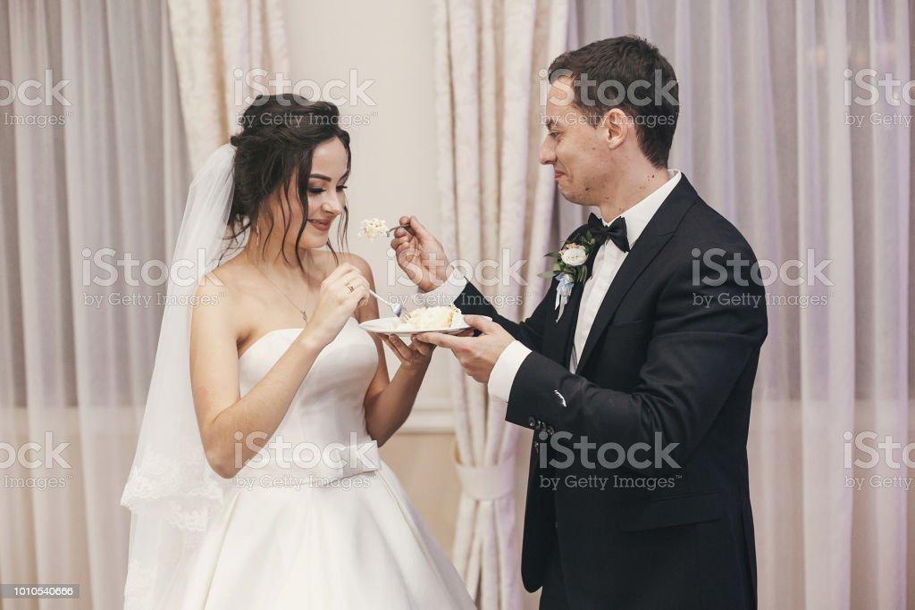Wunderschone Brautpaar Stilvolle Verkostung Ihre Stilvolle