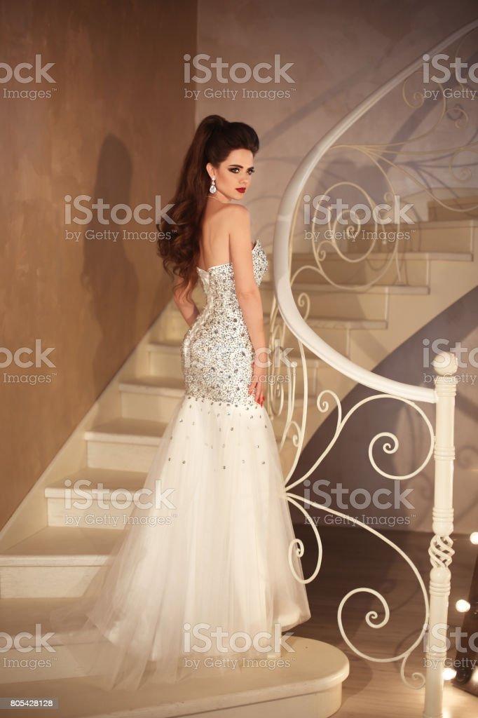 Gorgeous Bride In Wedding Dress Elegant Brunette Sexy Woman In Long