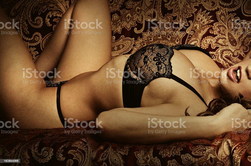 Gorgeous Brunette in Lingerie stock photo