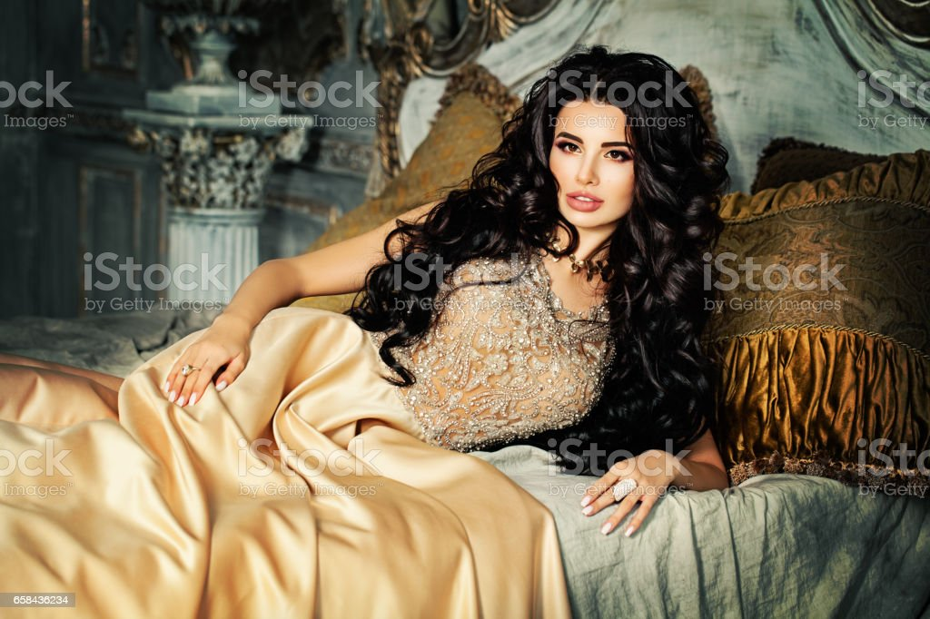 Gorgeous Brunette Woman at Night stock photo