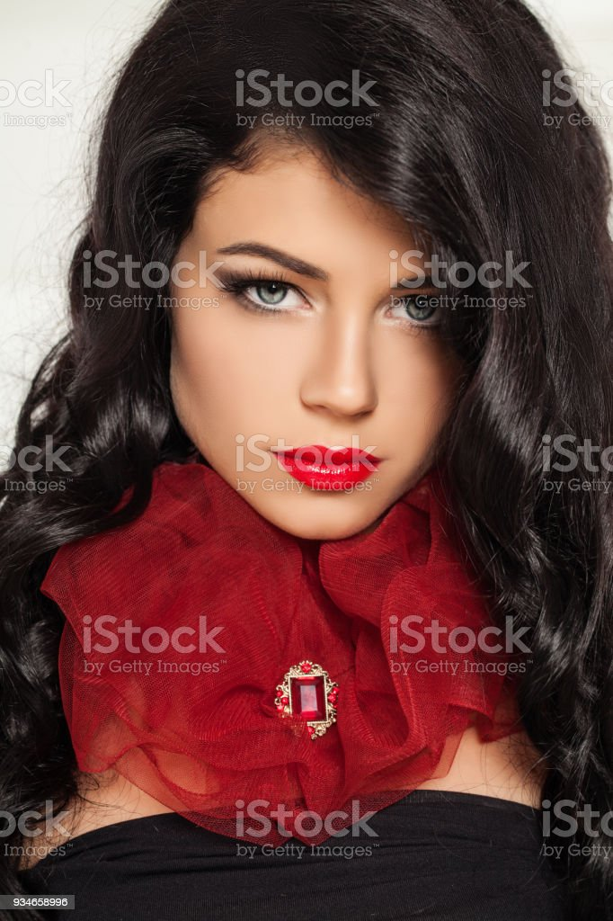 Gorgeous Brunette Woman In Red Fashion Collar Fashion Portrait Of