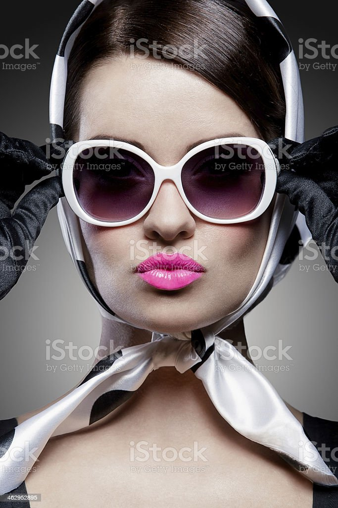 gorgeous caucasian brunette with sunglasses stock photo