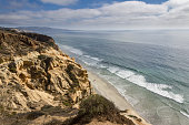 Gorgeous clear view of Torrey Pines Natural State Reserve in San Diego, California USA.