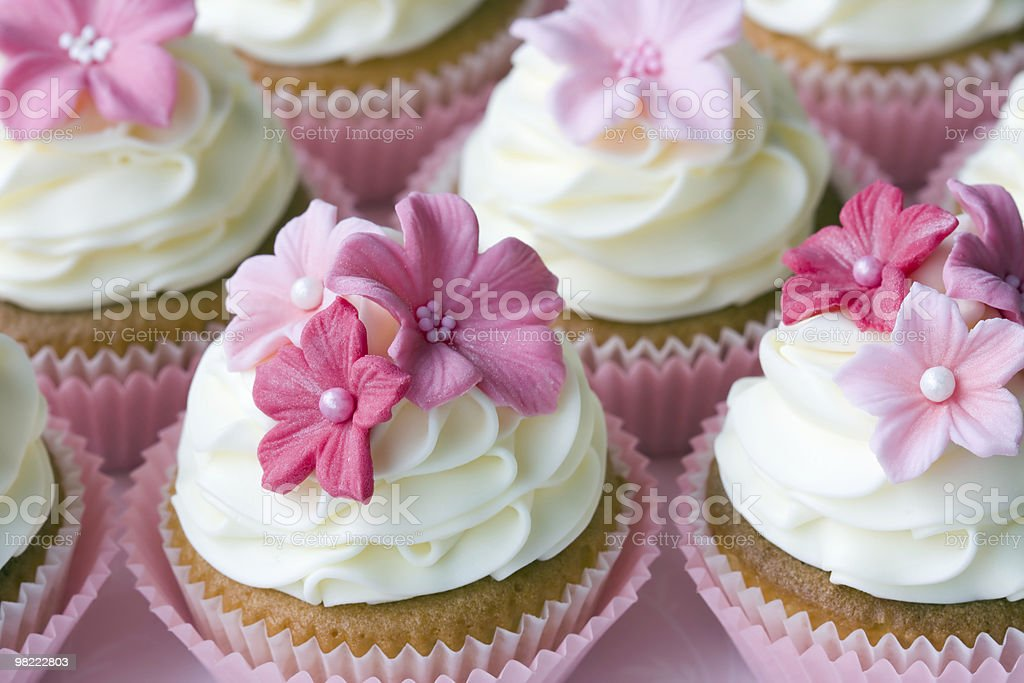 Gorgeous cupcakes with white icing and small pink flowers royalty-free stock photo