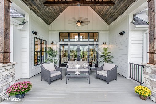 istock Gorgeous deck with comfortable seating to enjoy a lovely evening outside 1272163094