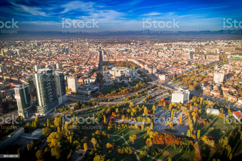 Gorgeous drone shot above Sofia city downtown in autumn stock photo