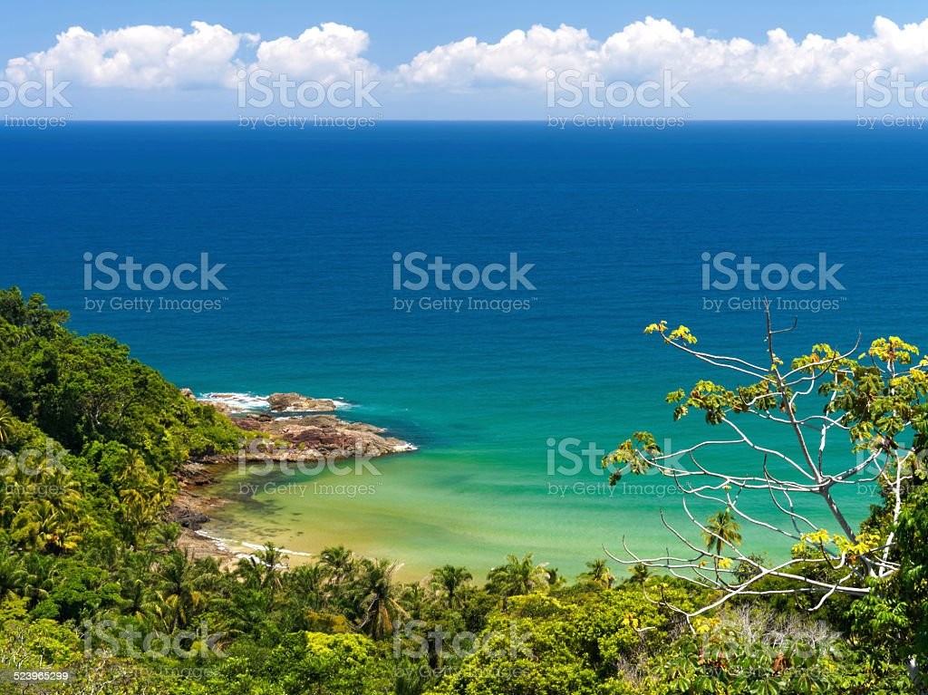 Gorgeous Engenhoca beach and its pristine ocean and lush nature. stock photo