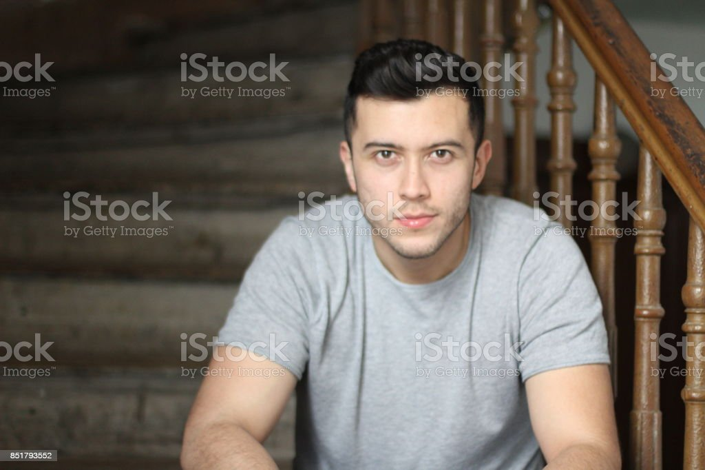Gorgeous ethnic man close up stock photo