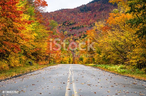 istock Gorgeous Fall Colors along a Scenic Mountain Road 813663262