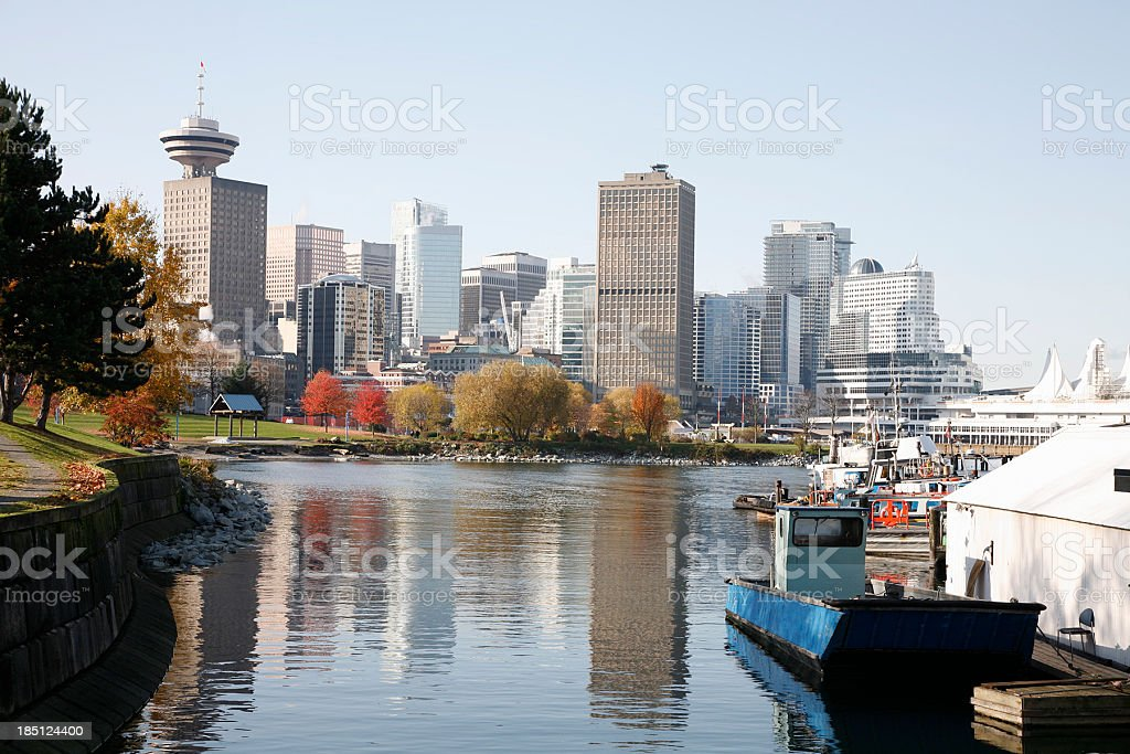 Gorgeous Fall Day Vancouver Skyline stock photo