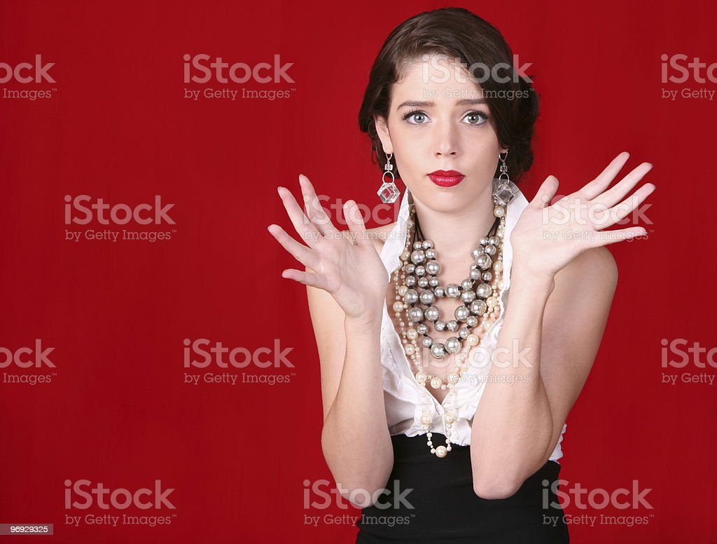 Gorgeous Fashion Model With Hands Up and Open royalty-free stock photo