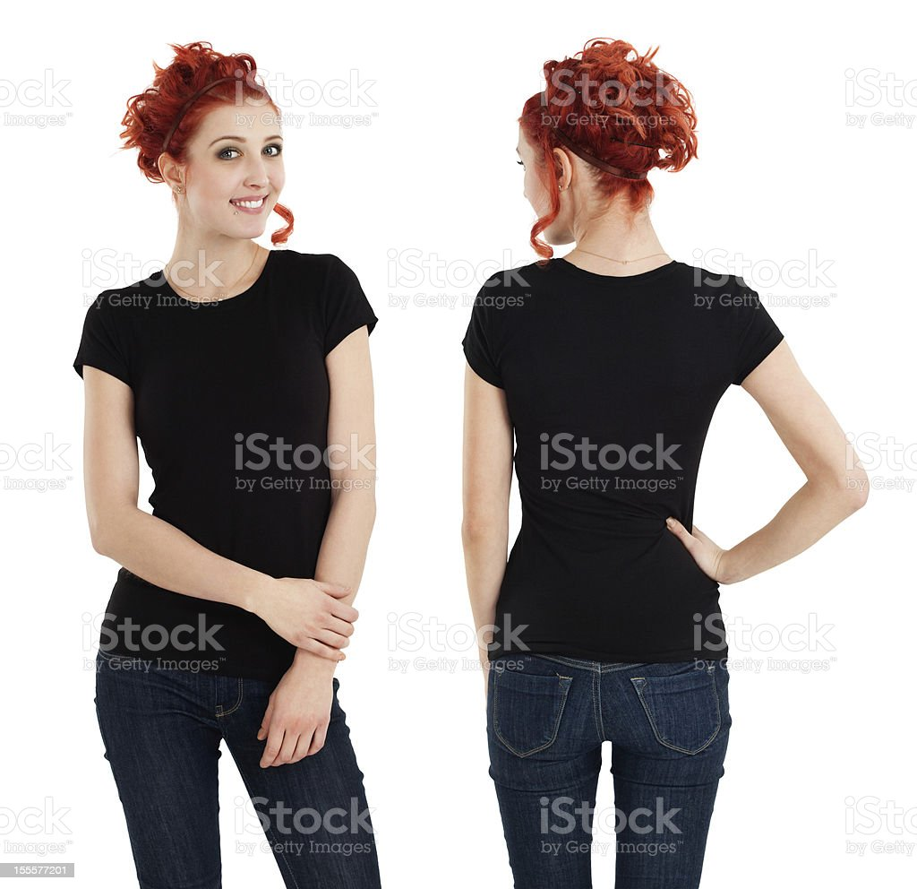 Gorgeous female with blank black shirt stock photo