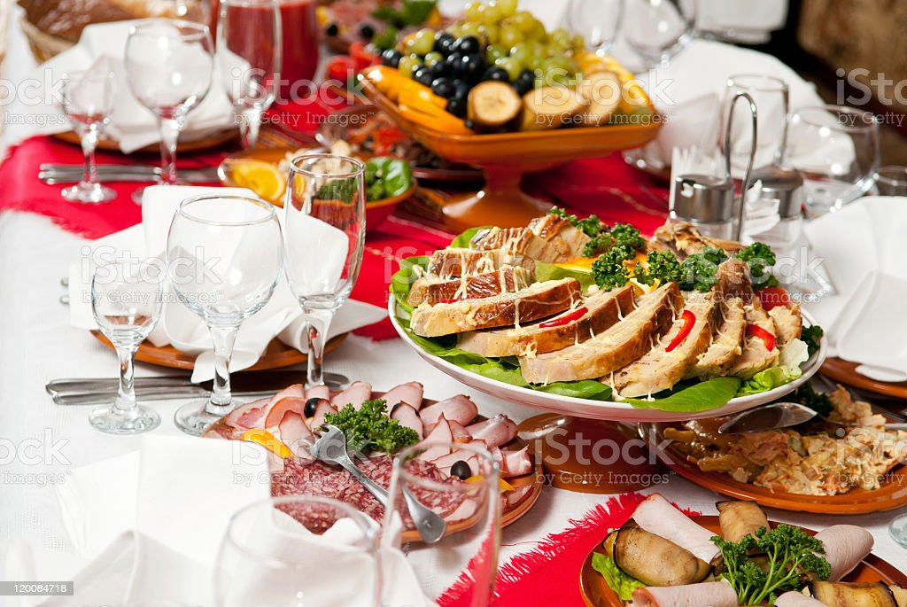 Gorgeous fine dining catering food table set royalty-free stock photo