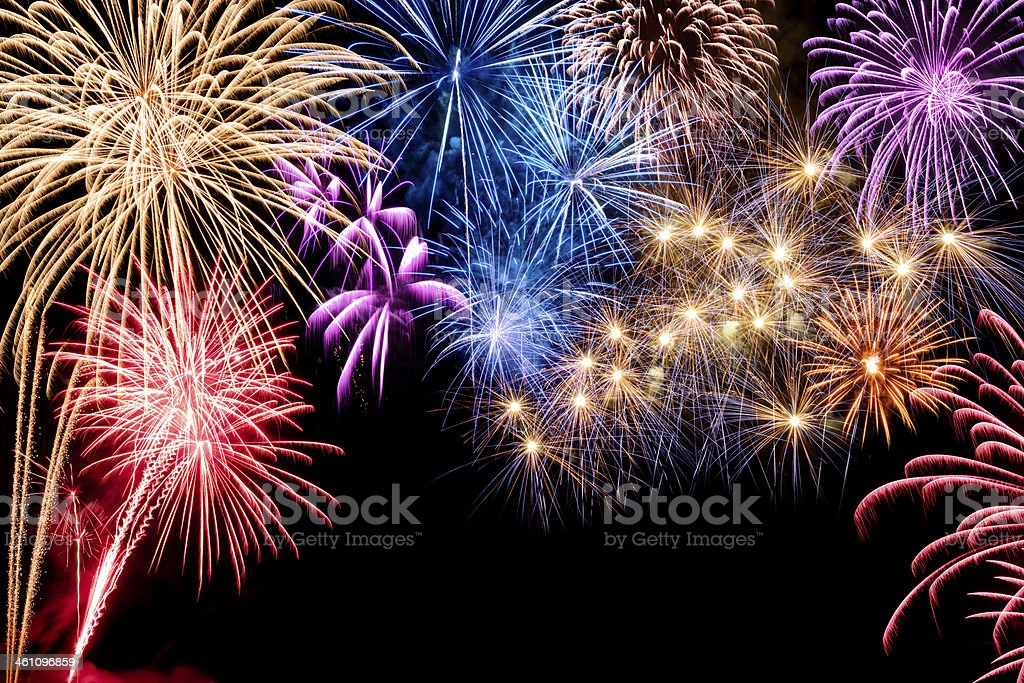 Gorgeous fireworks display stock photo