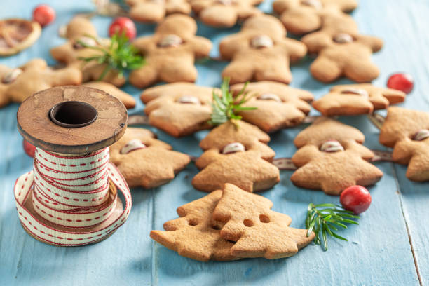 Gorgeous gingerbread cookie chain as Christmas ornaments stock photo
