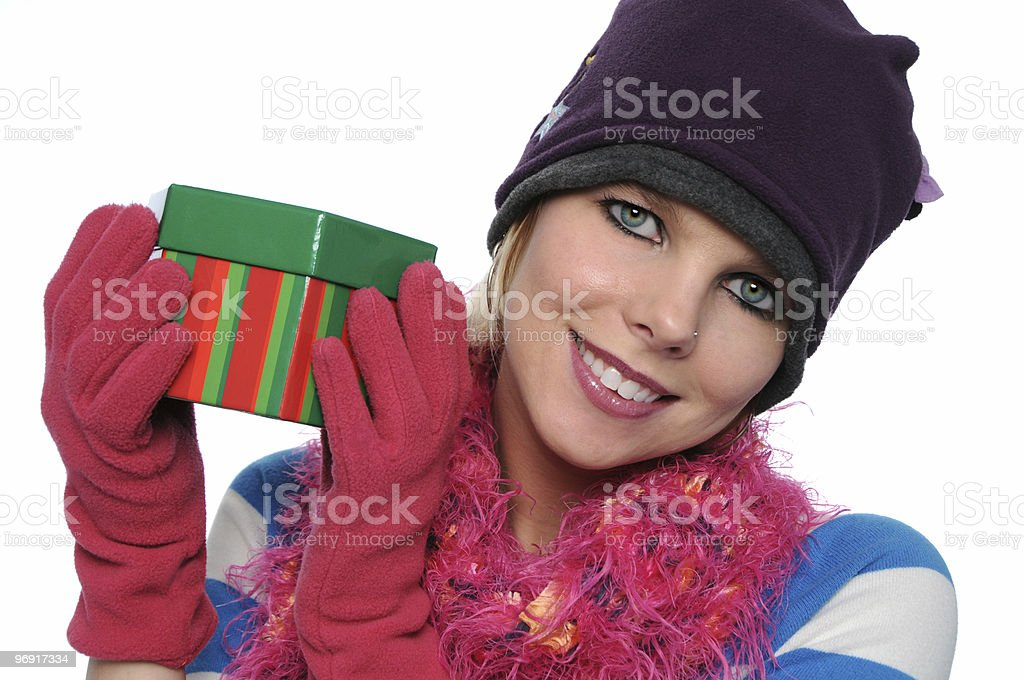 Gorgeous girl holding gift royalty-free stock photo