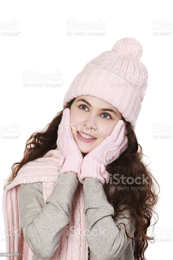 Gorgeous girl in winter wear Daydreaming royalty-free stock photo
