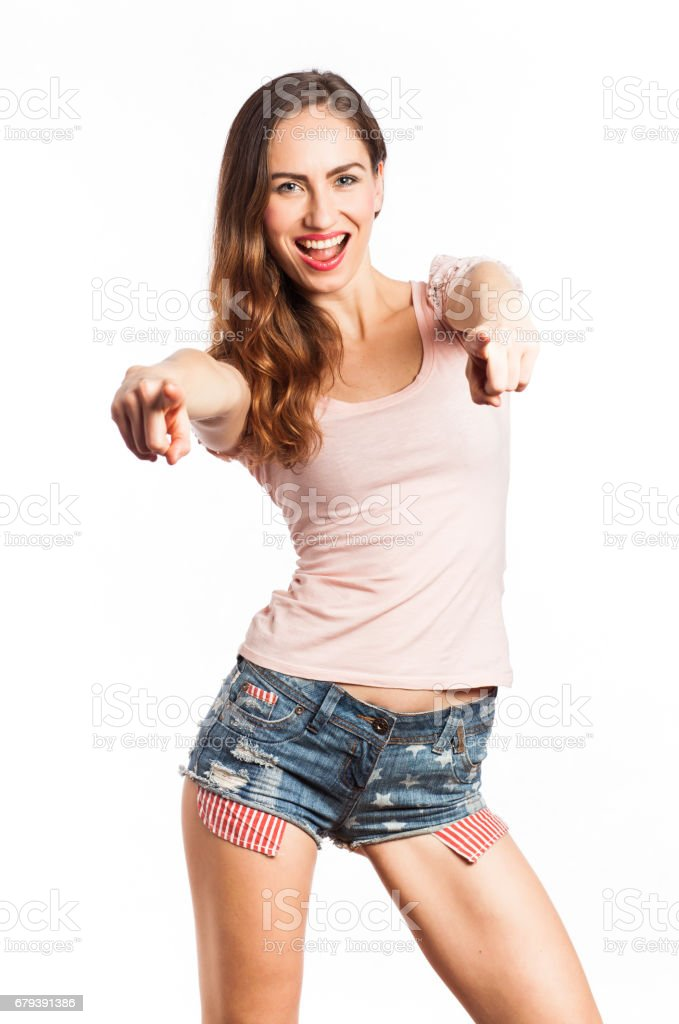 Gorgeous girl pointing at you royalty-free stock photo