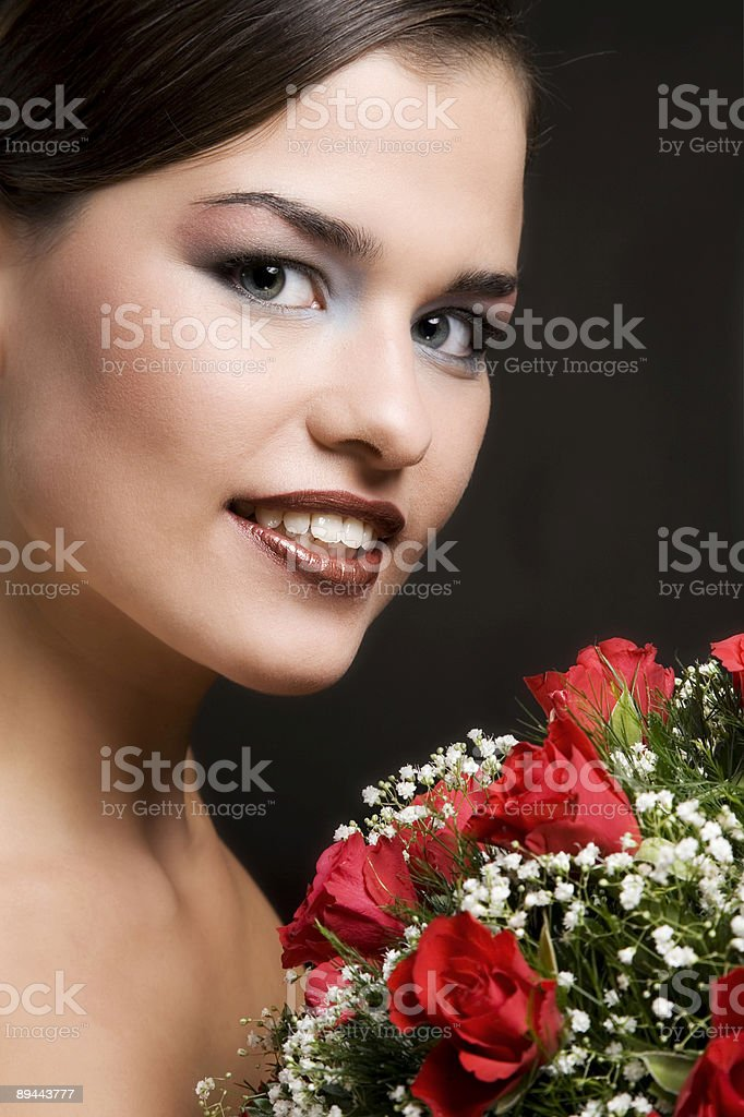 Gorgeous girl (bride) with flowers royalty-free stock photo