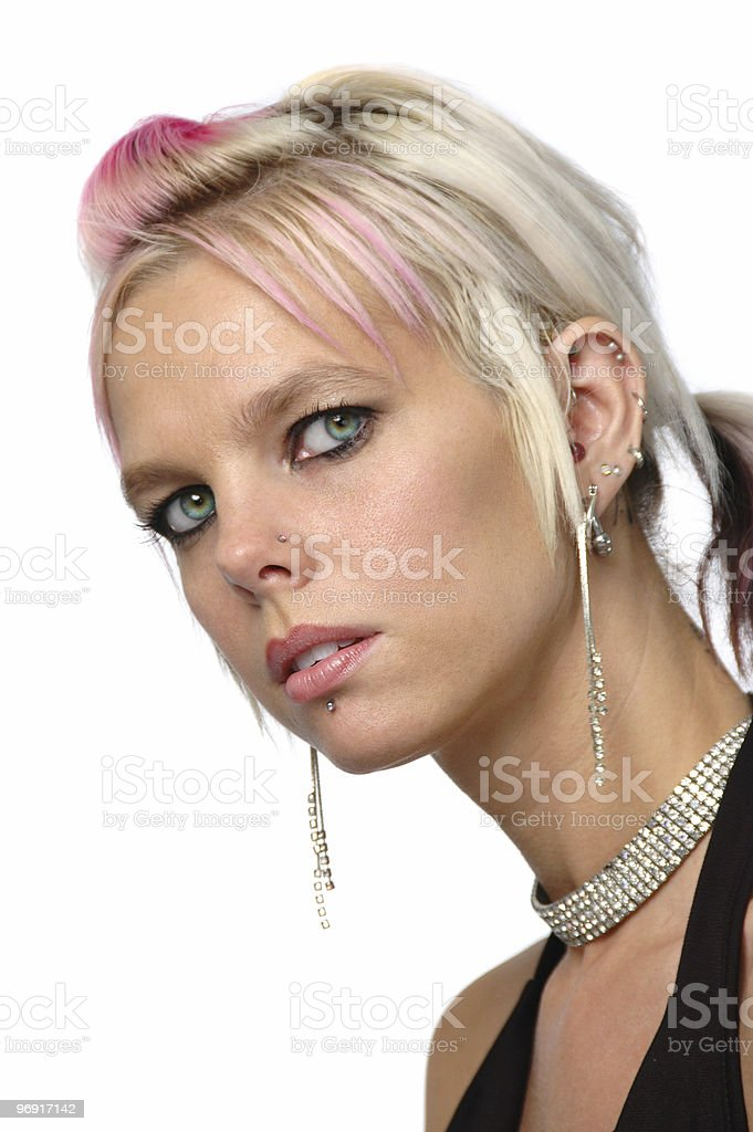 Gorgeous girl with piercings and jewelry royalty-free stock photo