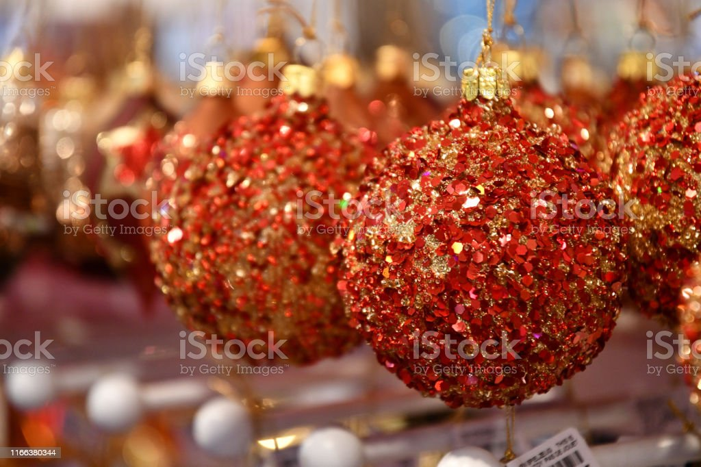 Fairytale Christmas Decorations.Gorgeous Glitter Red And Golden Bulbs Fairytale Christmas Tree Ornaments Closeup Holiday Decor Christmas Decorations Christmas Market In Berlin