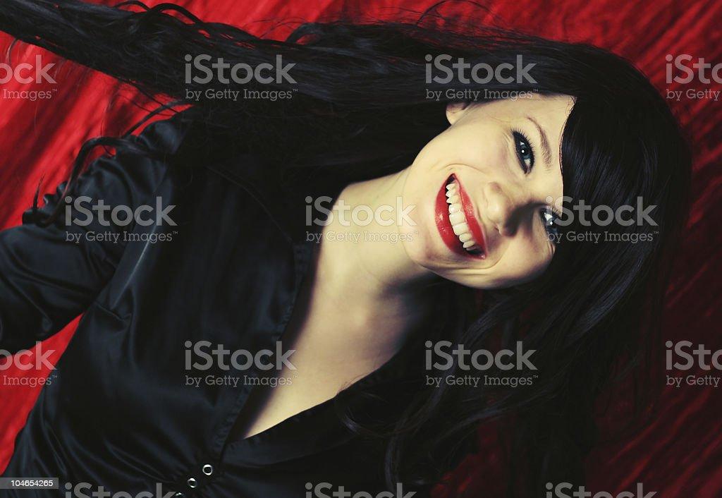 Gorgeous happy brunette royalty-free stock photo