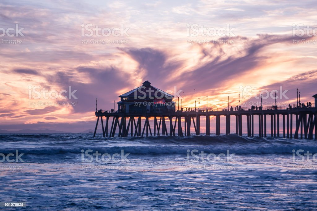 Gorgeous Huntington Beach Sunset stock photo