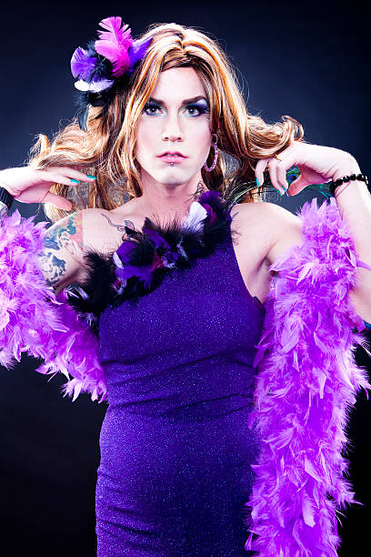 gorgeous in drag - transvestite stock photos and pictures