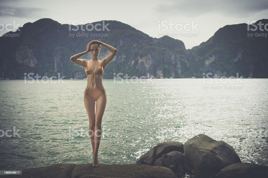 Gorgeous lady at the sea stock photo