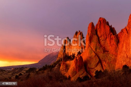 the most beautiful light in the morning hours hitting the rock formation at Garden of the Gods in Colorado