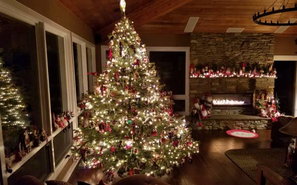 Gorgeous Log Cabin Home Decorated for the Christmas Holidays stock photo