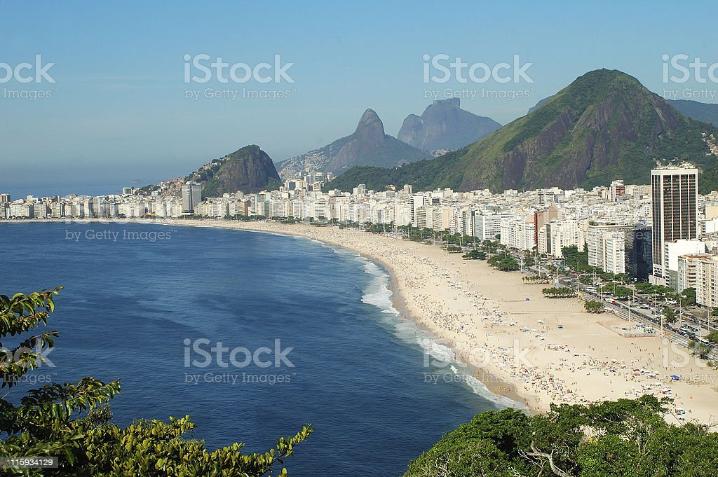 Gorgeous long shot of Copacabana beach royalty-free stock photo