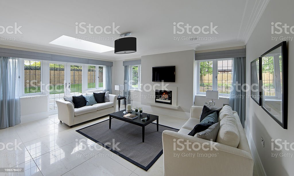 gorgeous lounge with fireplace royalty-free stock photo