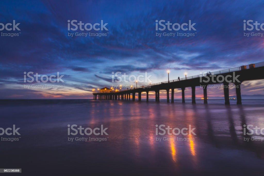 Gorgeous Manhattan Beach Pier After Sunset stock photo