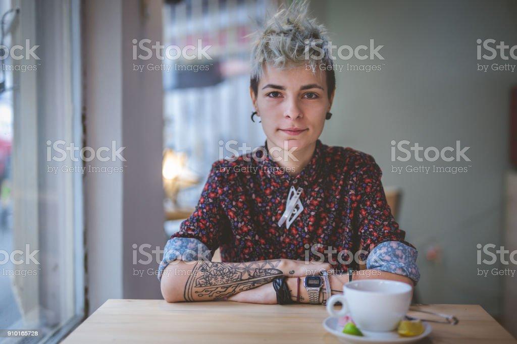 Gorgeous modern woman stock photo