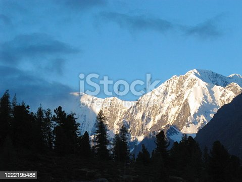 istock Gorgeous mountainous landscape. Crown of Altai summit in clouds. Katun Mountain range. Altai Republic, Siberia, Russia. 1222195488