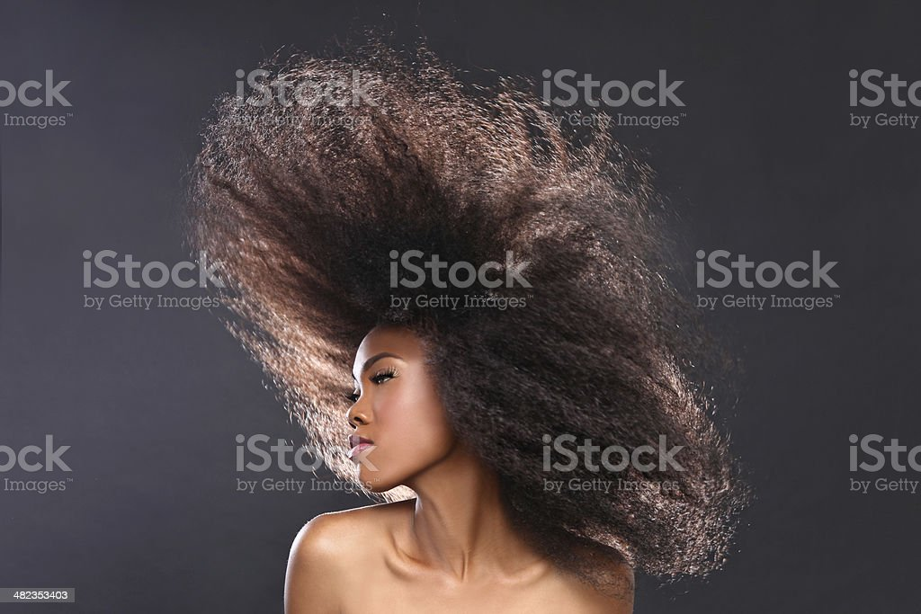 Gorgeous Moving African American Black Woman With Big Hair stock photo