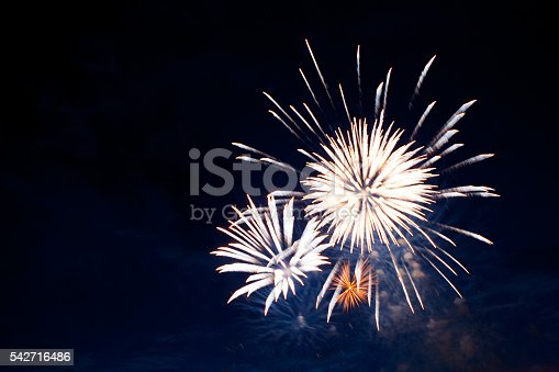 542714484 istock photo Gorgeous multi-colored fireworks display on dark background 542716486