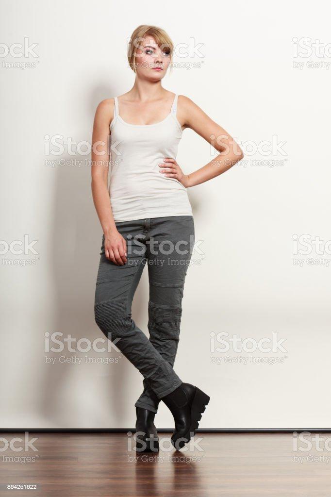 Gorgeous pretty woman in sleeveless shirt. royalty-free stock photo