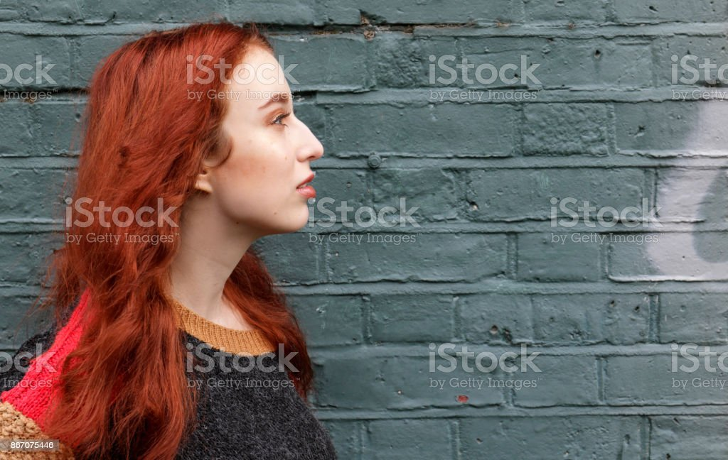 Gorgeous red haired English autumn outdoor girl profile wall graffiti stock photo