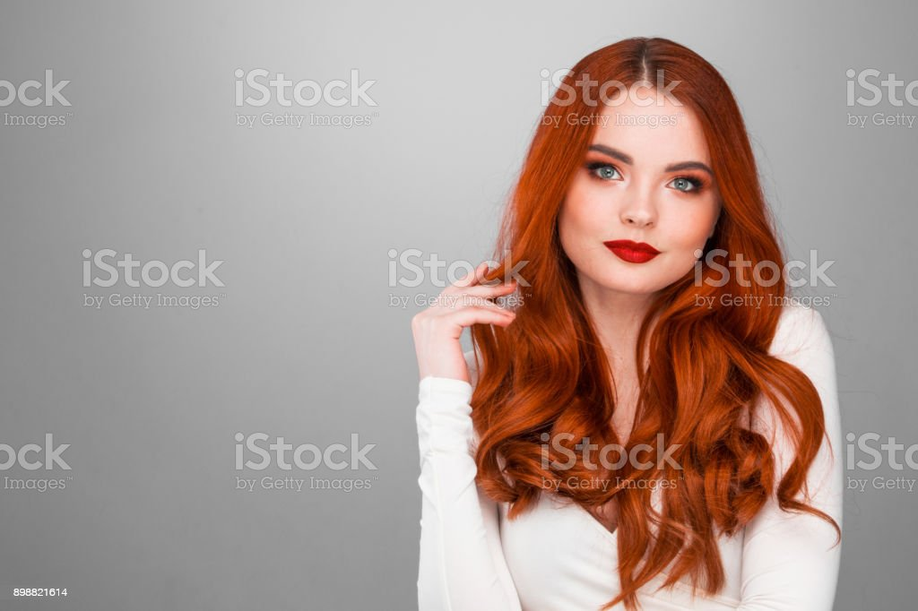 Gorgeous redhead girl stock photo