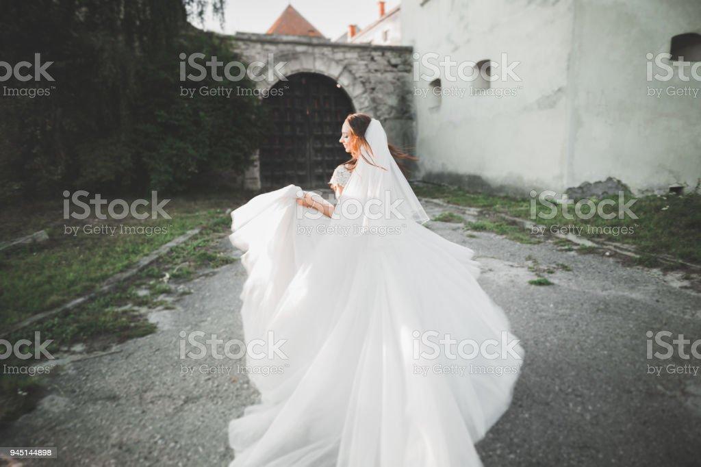 Gorgeous romantic gentle stylish beautiful caucasian bride on the background ancient baroque castle stock photo